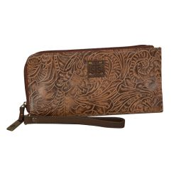 STS RANCHWEAR - Floral Clutch, Brown Leather